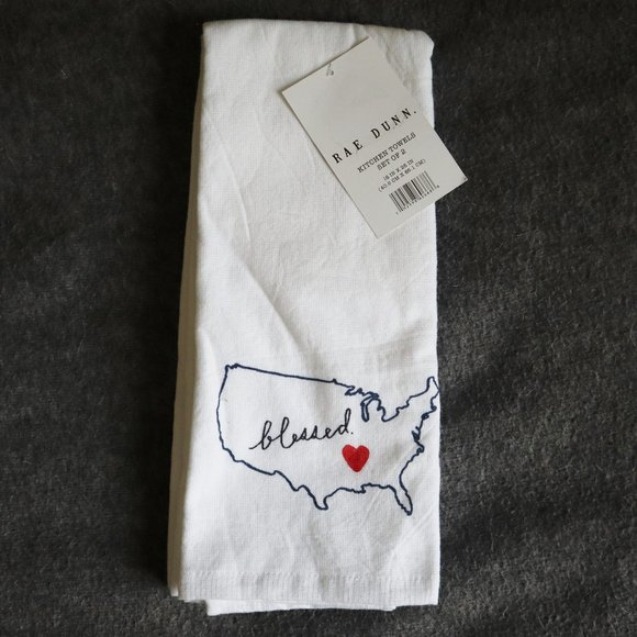 """Rae Dunn """"Blessed"""" Kitchen Towels Set of 2"""